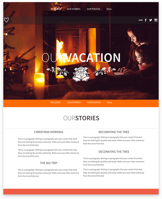 Website builder Vacation responsive template