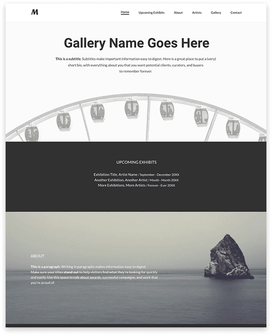 Website builder Exhibition responsive template