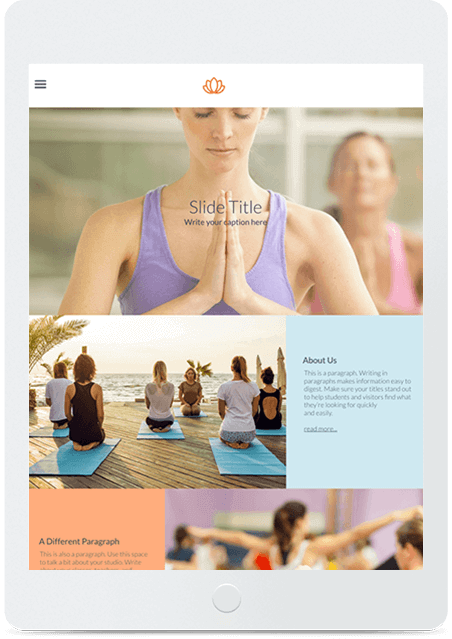 Website builder Yoga responsive template