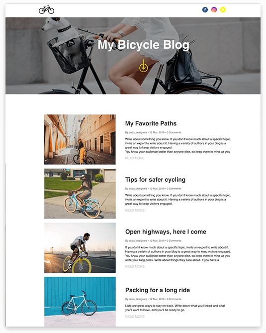 Website builder My Bicycle Blog responsive template