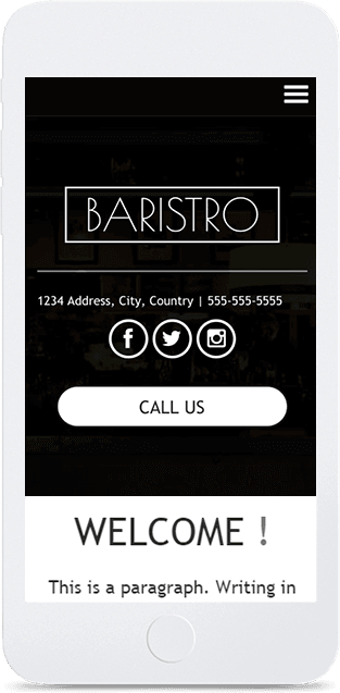 Website builder Baristro responsive template