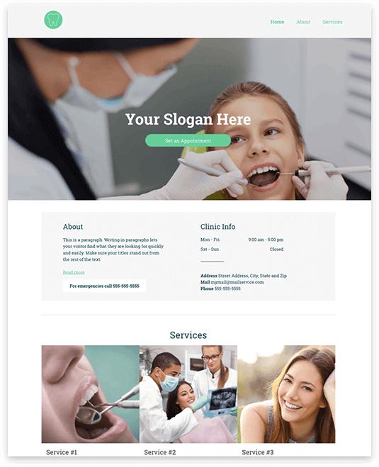 Website builder Dentist responsive template