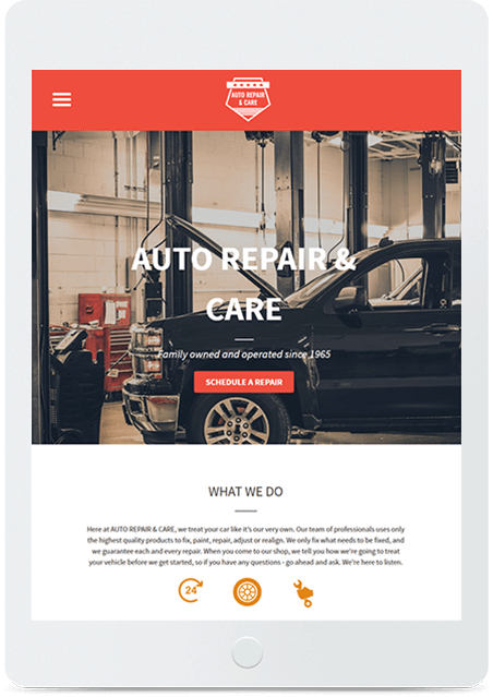 Website builder Auto Repair responsive template