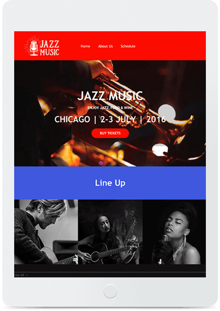 Website builder Jazz Festival responsive template