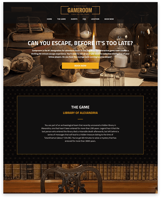 Website builder Escape Room responsive template