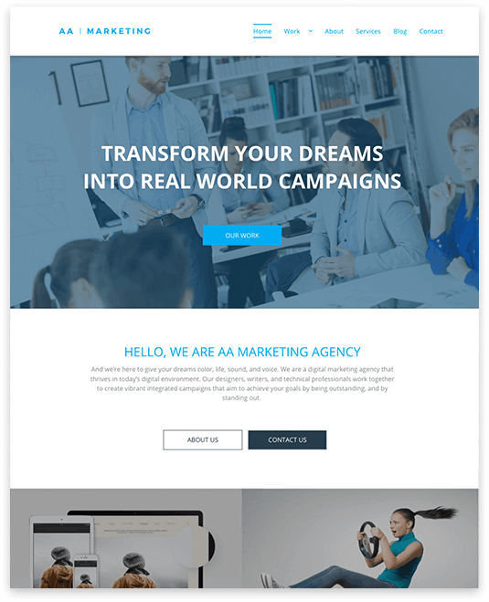 Website builder Marketing Agency responsive template