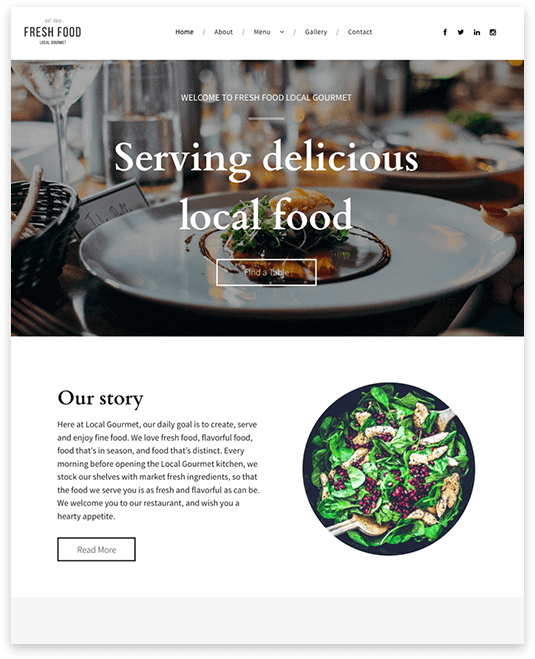 Website builder Local Restaurant responsive template