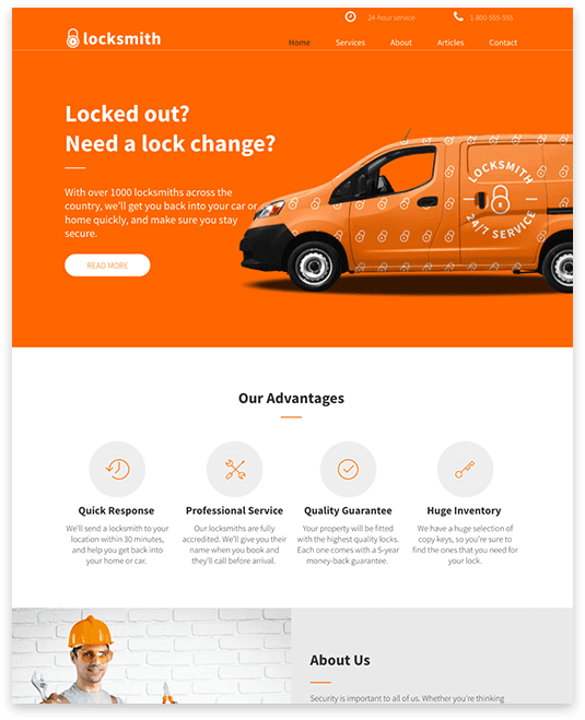 Website builder LOCKSMITH responsive template