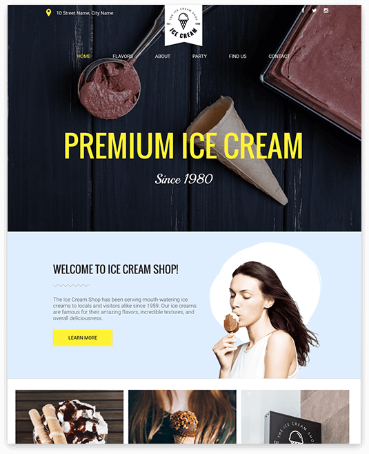 Website builder Ice Cream Shop responsive template