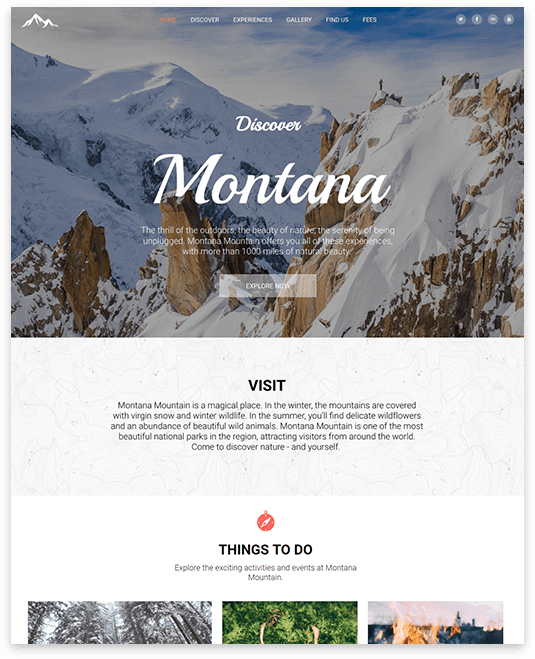 Website builder NATIONAL PARK responsive template