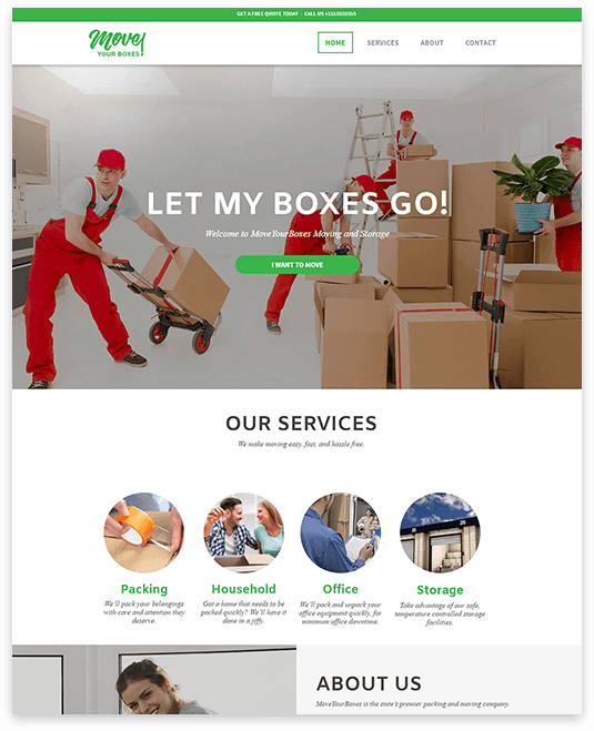 Website builder Moving Company responsive template