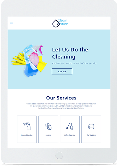 Website builder Cleaning Service responsive template
