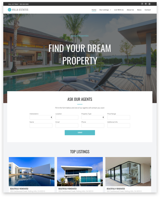 Website builder Real Estate responsive template