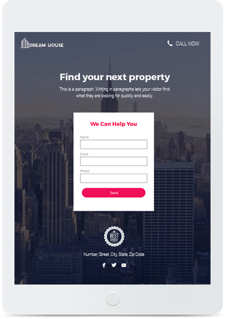 Website builder Real Estate Landing Page responsive template