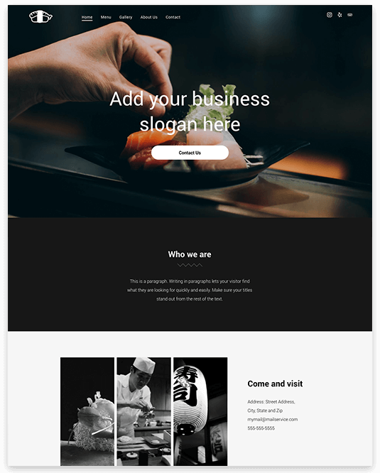 Website builder Sushi Restaurant responsive template