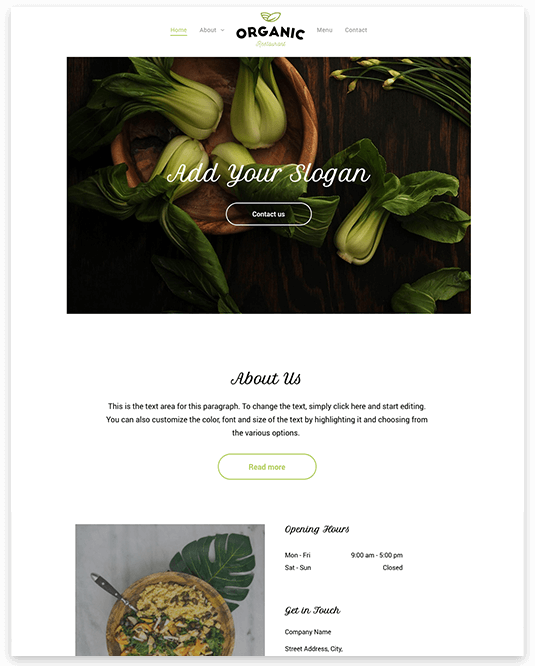Website builder Organic Restaurant responsive template