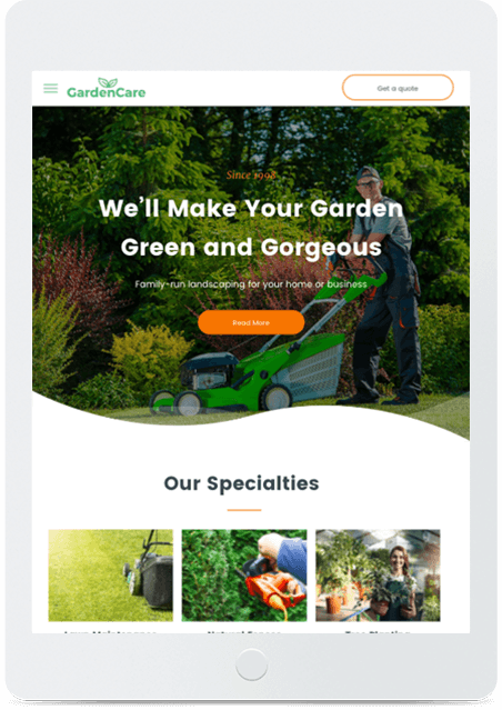 Website builder Gardener responsive template