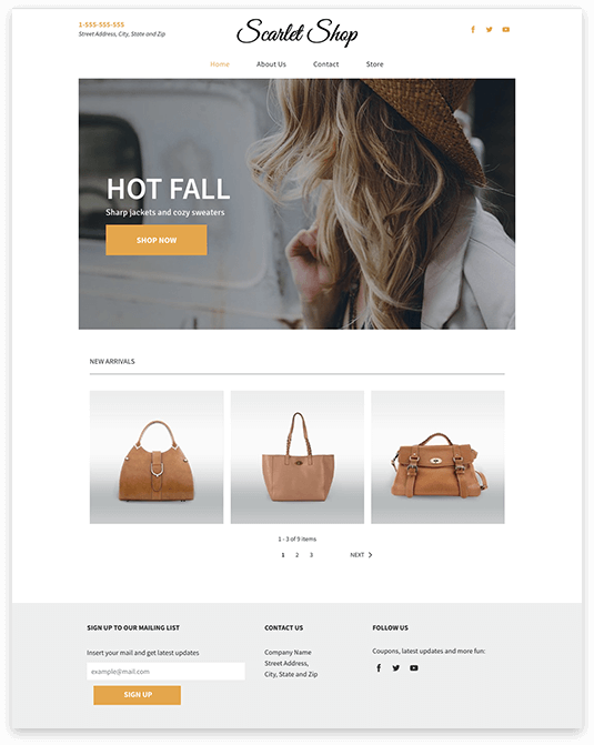 Website builder Scarlet Shop responsive template