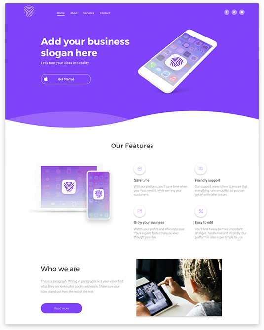 Website builder Mobile App responsive template