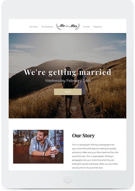 Website builder Wedding responsive template