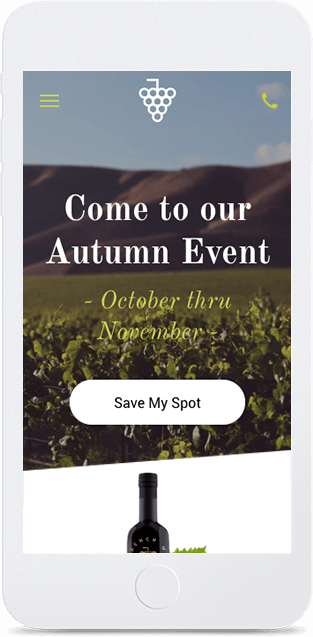Website builder Winery Landing Page responsive template
