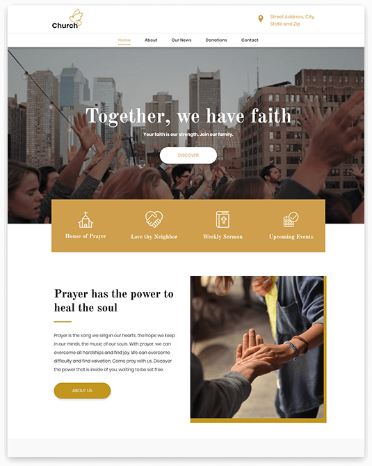 Website builder Church responsive template