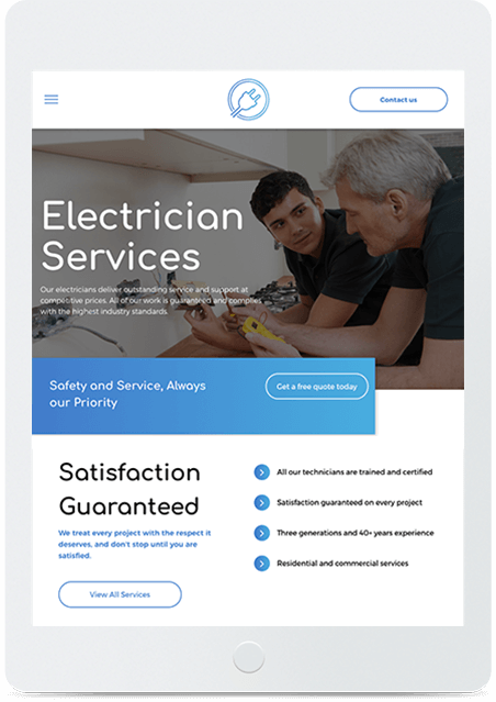 Website builder Electrician responsive template
