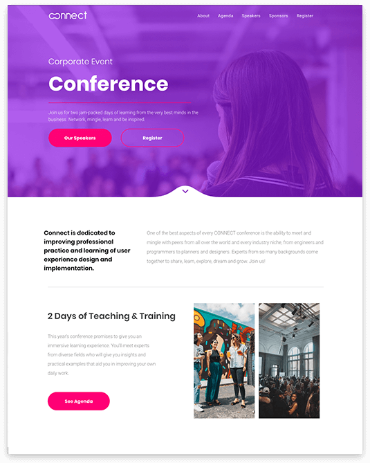 Website builder Corporate Event responsive template