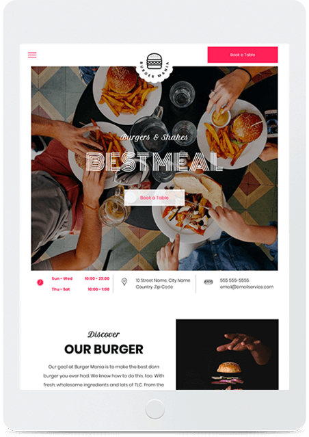 Website builder Burger Restaurant responsive template