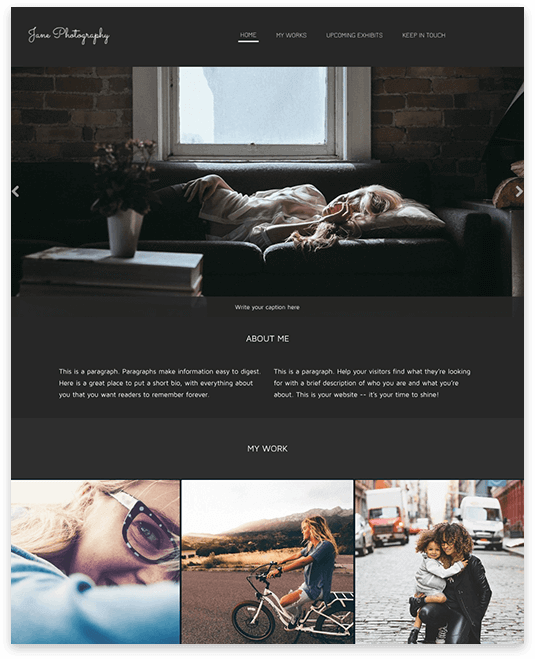 Website builder Jane Photography responsive template