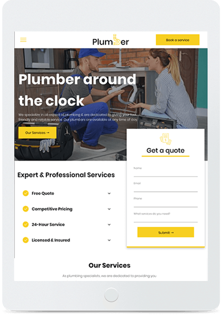 Website builder Plumber responsive template