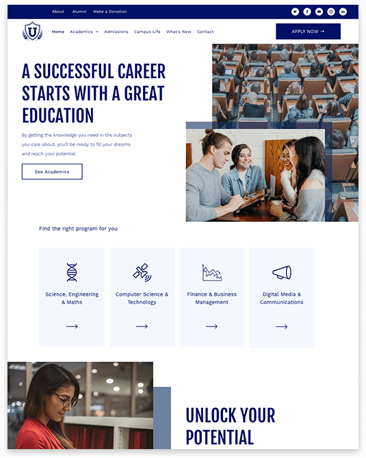 Website builder Academic responsive template