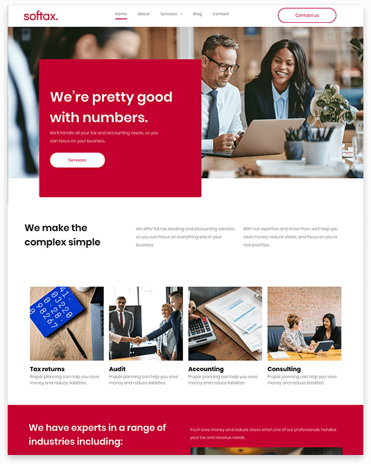Website builder Accountant responsive template
