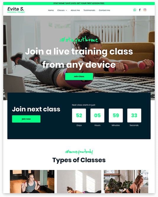 Website builder Personal Trainer responsive template