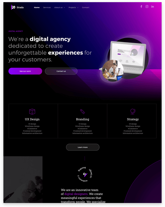 Website builder Digital Agency responsive template